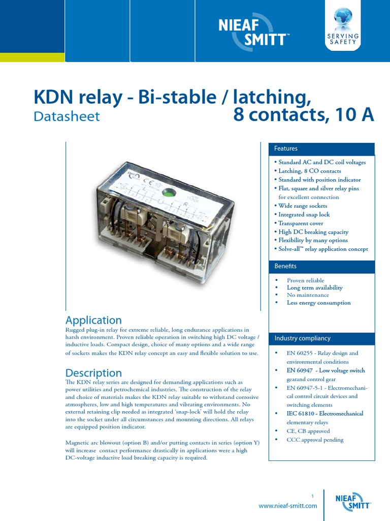 Datasheet Kdn Relays V13pdf Relay Electrical Connector Switch