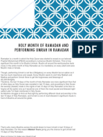 Holy Month of Ramadan and Performing Umrah In