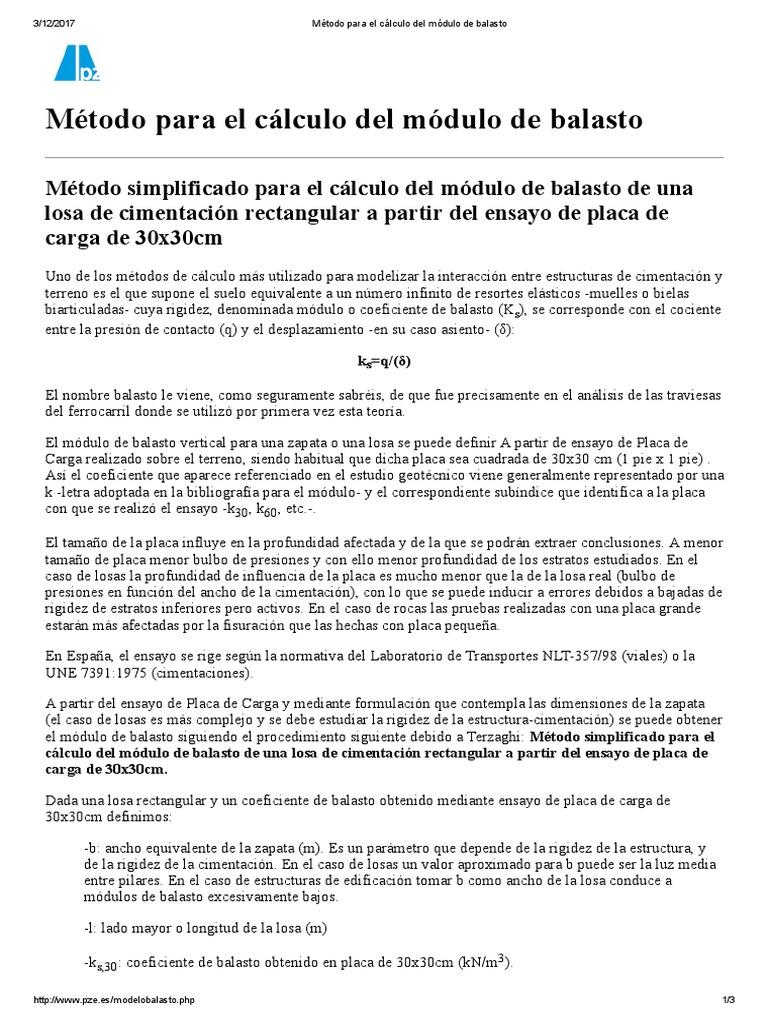Método Para El Cálculo Del Módulo De Balasto Foundation