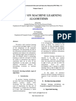 A Study on Machine Learning Algorithms