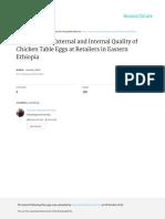EvaluationofExternalandInternalQualityofChickenTableEggsatRetailersinEasternEthiopia