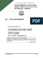 Civil Engineering -PSR COLLEGE SYLLABUS