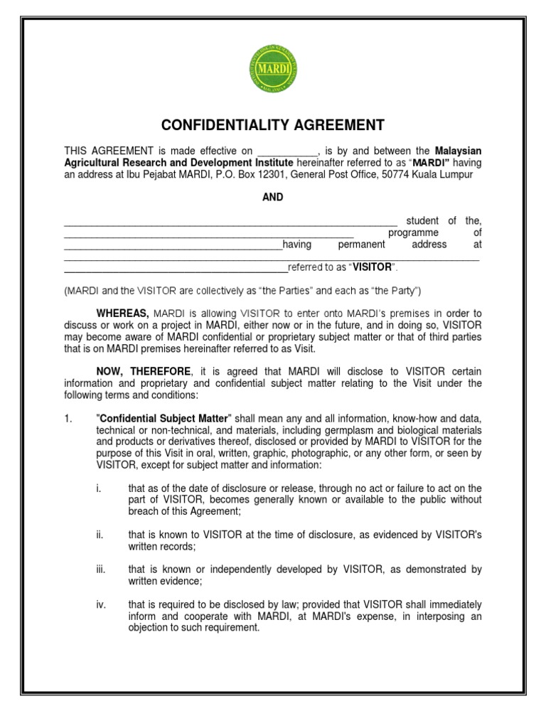 Confidentiality Agreement Traininglatest Confidentiality Non