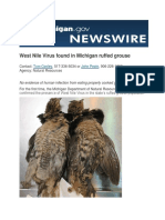 West Nile Virus found in Michigan ruffed grouse
