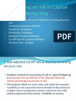 Accounting of Risk in Capital Budgeting