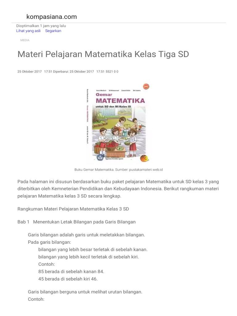 Materi Pelajaran Matematika Kelas Tiga Sd Oleh Nining Herianti Kompasiana Com