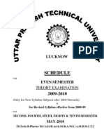 Schedule of Even Sem Exam 2009 10