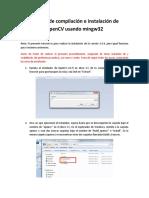 Tutorial de Compilación e Instalación de OpenCV Usando Mingw32
