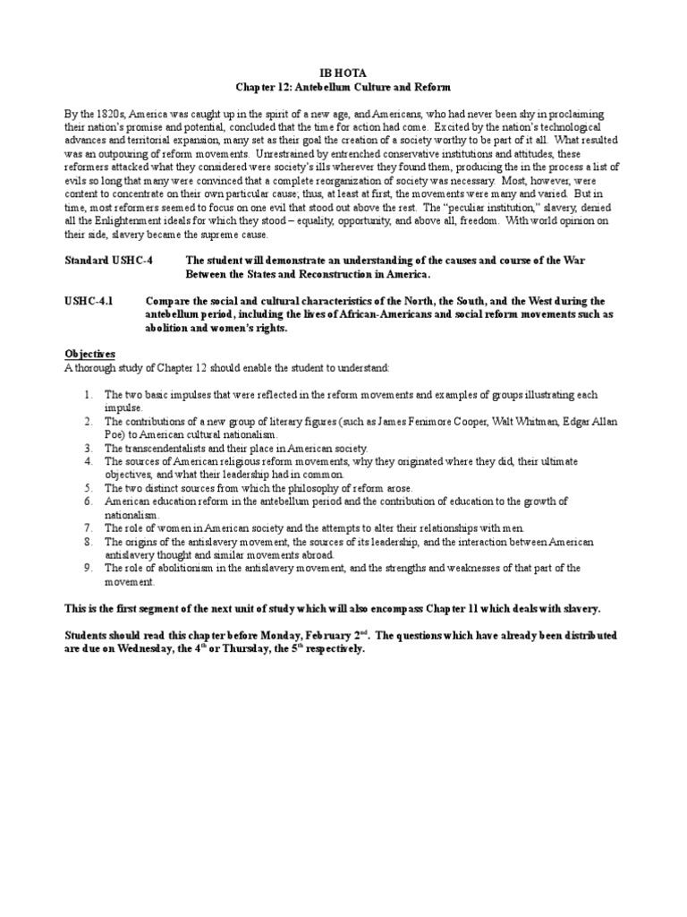 Reform Era Chapter 12 Outline | Abolitionism In The United States | The  United States