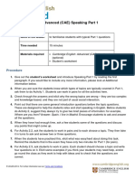CAE speaking part one lesson plan