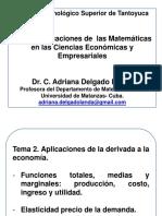 Clase 2. Aplic de La Derivada a La Econ f. Marginal y Elasticidad