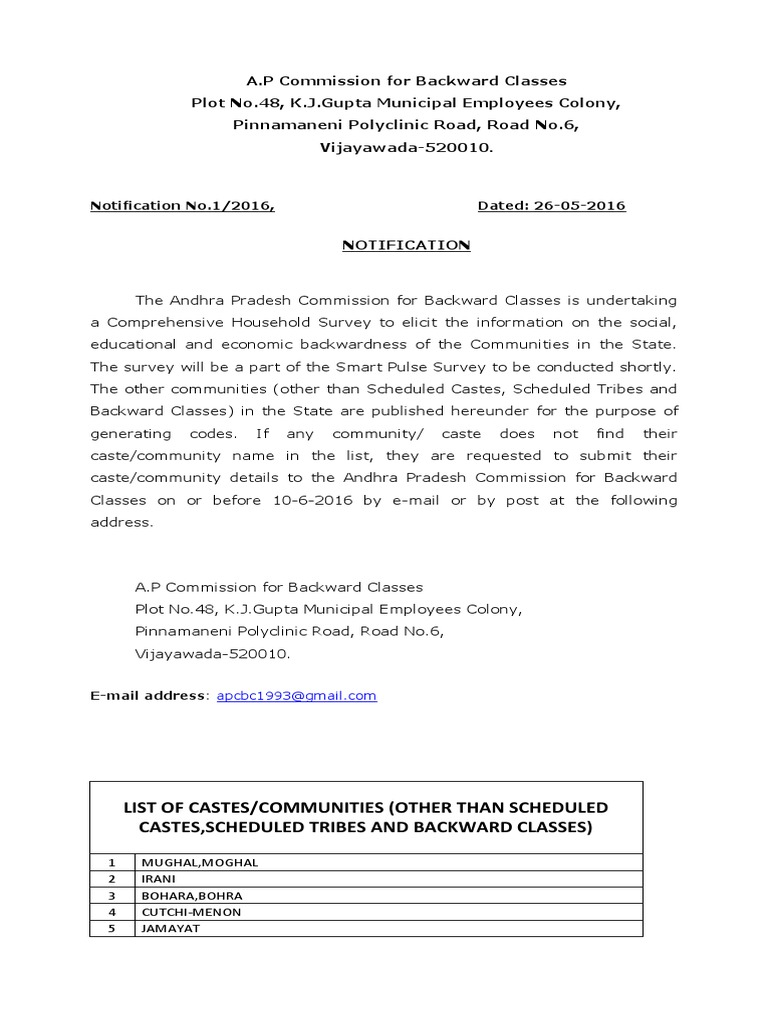 NOTIFICATION-LETTER pdf   Indian Religions   Social Groups Of India