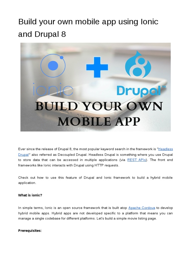 Build your own mobile app using Ionic and Drupal 8 | Drupal