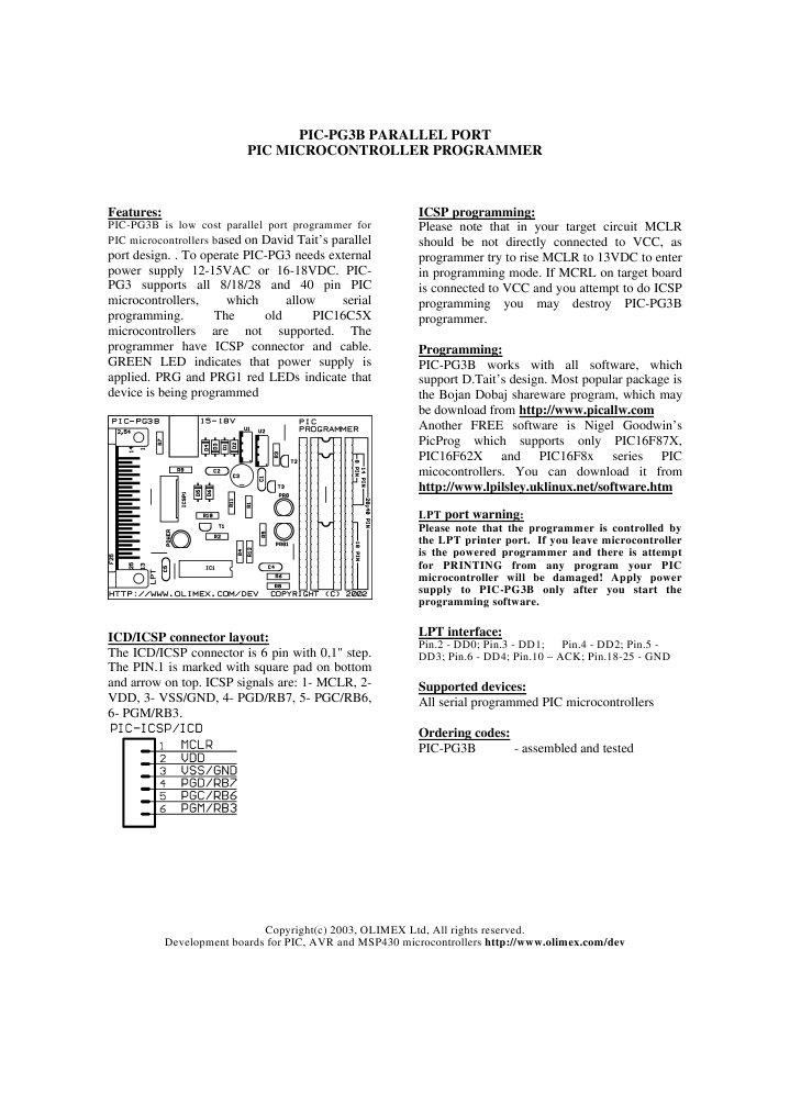 pic-pg3b | Microcontroller | Computer Architecture