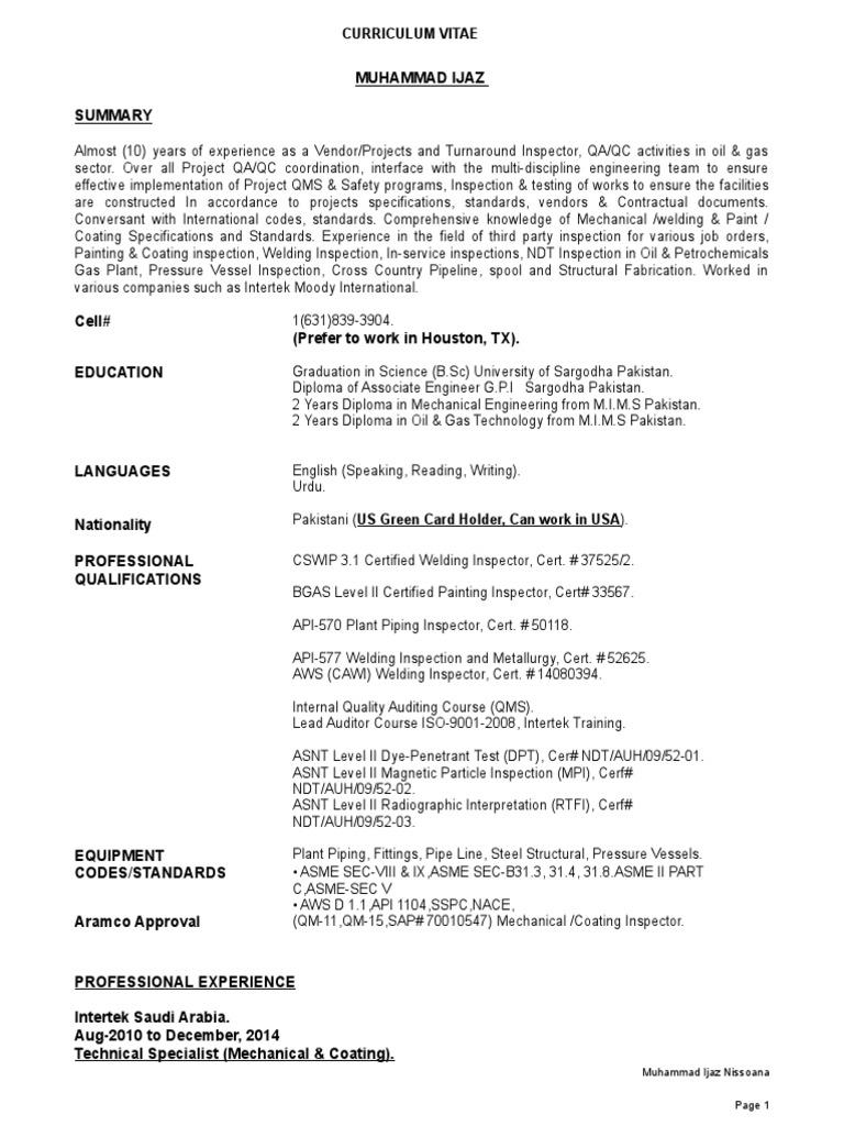 Cv Mohd ijaz Aramco Vid Approved (1) | Nondestructive