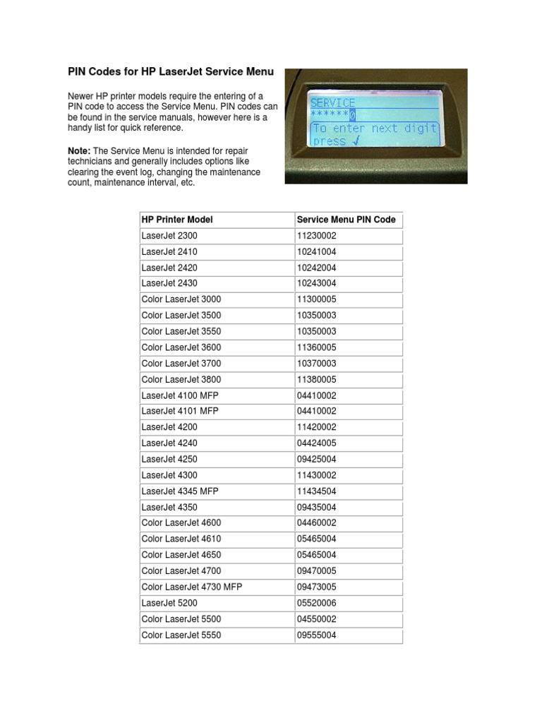 PIN Codes for HP LaserJet Service Menu | Computer Hardware