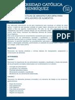 Buenas Prácticas de Manufactura BPM Para Manipuladores de Alimentos