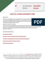 Roof Fall Hazard Assessment