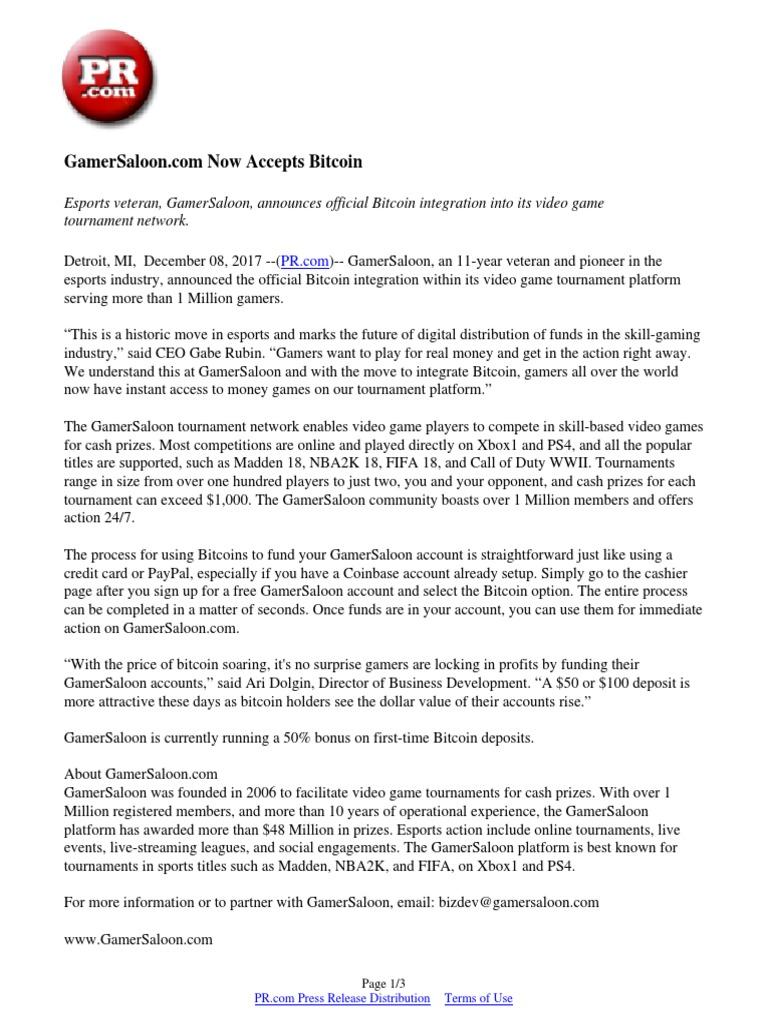 GamerSaloon com Now Accepts Bitcoin | Bitcoin | Video Games