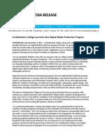 Media Release - Confederation College Launches New Digital Media Production Program