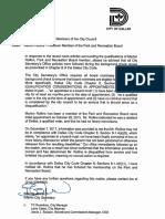 Notification on Marlon Rollins (Park Board Member)