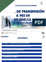 Sistema de Transmision a 765KV Febrero 2009 EDELCA