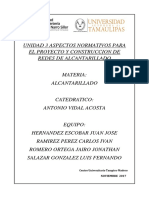 Unidad 3 Aspectos Normativos Para El Proyecto y Construccion de Redes de Alcantarillado