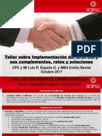 TALLER SOBRE IMPLEMENTACION DEL CFDI 3.3 Y SUS COMPLEMENTOS, RETOS Y SOLUCIONES