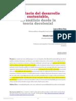 11.a La Falacia Del Desarrollo Sustentable Un Análisis Desde La Teoría Decolonial. Iberoamérica Social Revista Red de Estudios Sociales VI Pp. 89 104