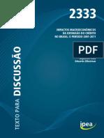 Impactos Macroeconomicos Da Expansão Do Crédito No Brasil - 2001 - 2011