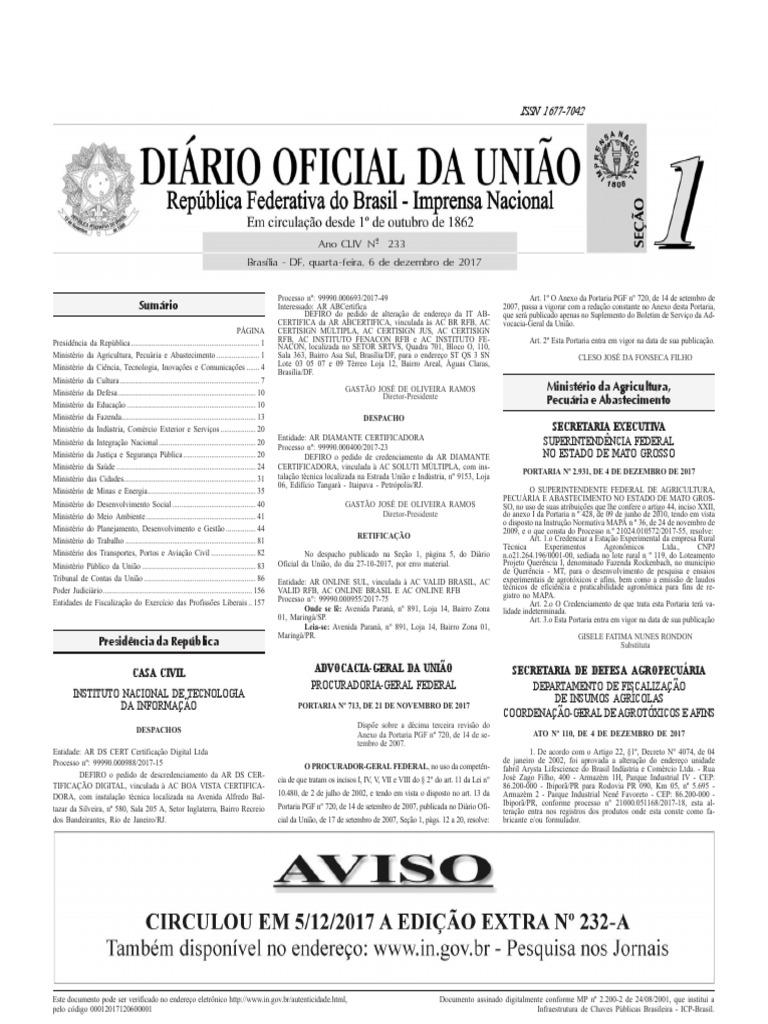 DOU Ano CLIV N° - 233 , quarta-feira, 6 de dezembro de 2017 - Seção 1 -  Completo 9d0f21ccd9