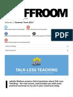 Staffroom Talk-Less Teaching