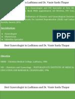 Best Gynecologist in Ludhiana and Dr. Vanie Sarda Thapar