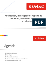 Notificación, Investigación y Reporte de Incidentes DS 024 Rimac