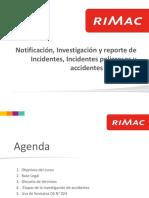 Notificación, Investigación y Reporte de Incidentes DS 024 Rimac
