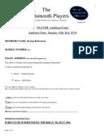 Oliver Audition Form Audition Form