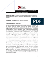 Programa- Problemas de Historia Argentina Contemporáne. Una Aproximación Desde La Historia de Las Mujeres y Los Estudios de Genero.