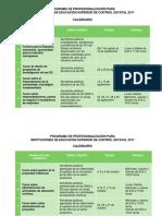 Calendario - Programa de Profesionalización 2017 (Octavo)