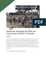 Honduras Del Golpe de 2009 a La Insurrección de 2017, Lecciones