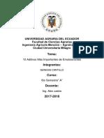 Aditivos Mas Importantes de Emulsificantes