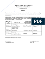 20126Notice to All Concerned Regarding Recruitment in Non-executive Cadre in RINL-VSP