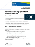 Termination of Employment and Temp Layoff