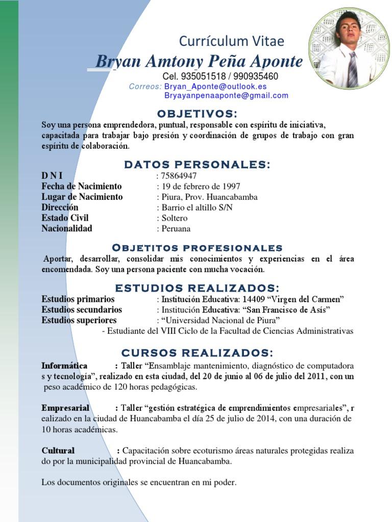 Fantástico Ejemplo De Currículum Educativo Objetivo Fotos - Ejemplo ...
