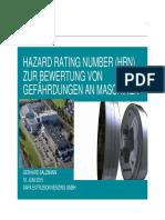 Hazard Rating Number (Hrn) Zur Bewertung Von Gefährdungen an Maschinen Gerhard Salzmann 18. Juni 2015 Sapa Extrusion Nenzing Gmbh