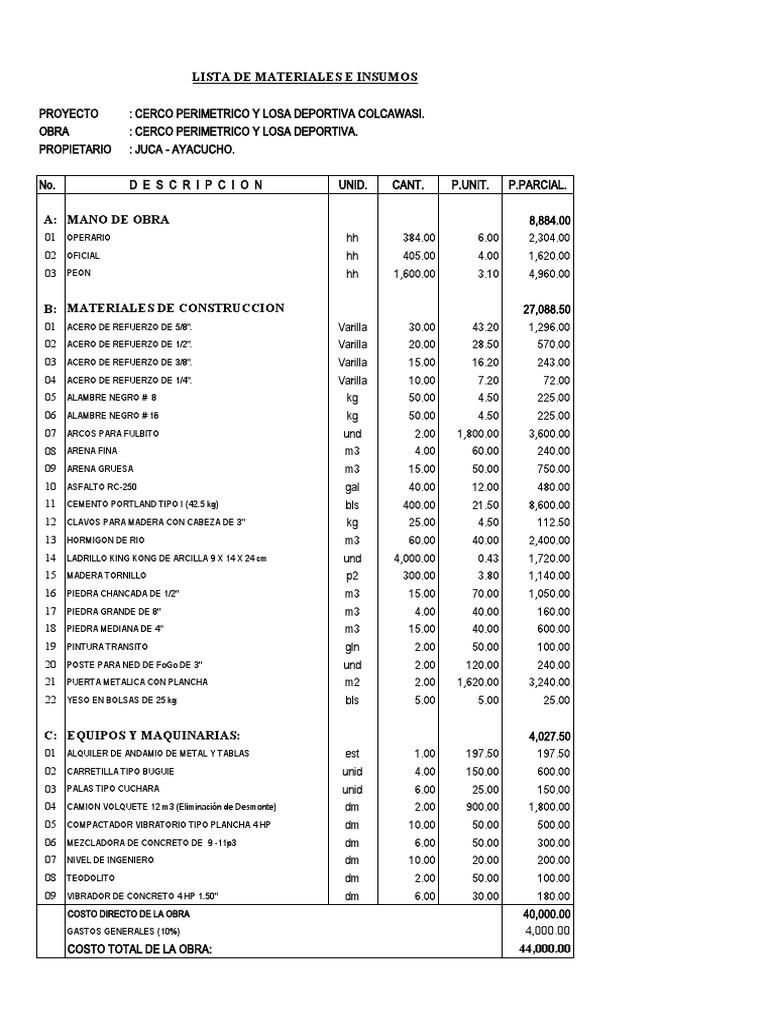 Presupuesto y lista de materiales de construcci n for Presupuesto para una pileta de material