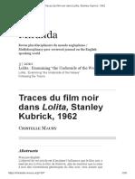 Maury, Cristelle (2010) - Traces Du Film Noir Dans Lolita, Stanley Kubrick, 1962