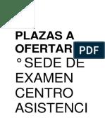 Plazas a Ofertar
