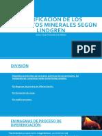 clasificacion de los yacimientos minerales según lindgren