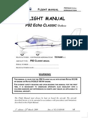 Tecnam P92 Echo Classic Deluxe Flight Manual   Aircraft