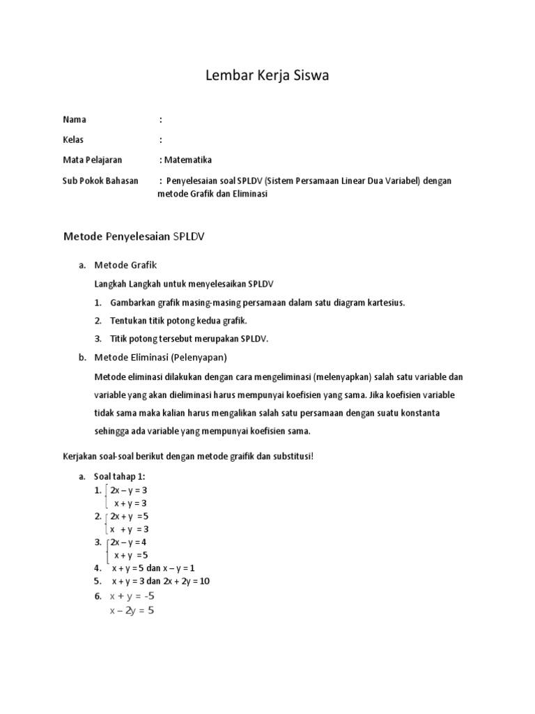 Lembar kerja siswa spldv ccuart Images